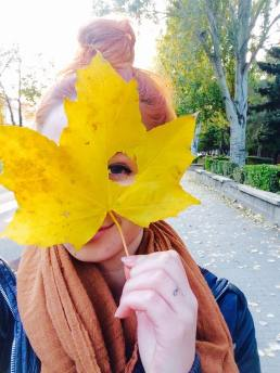girl and the yellow leaf