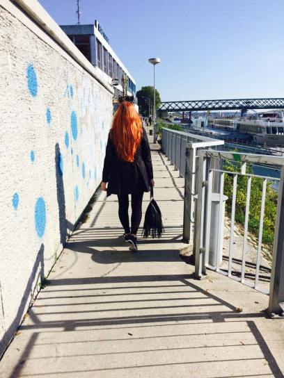 redhead walking